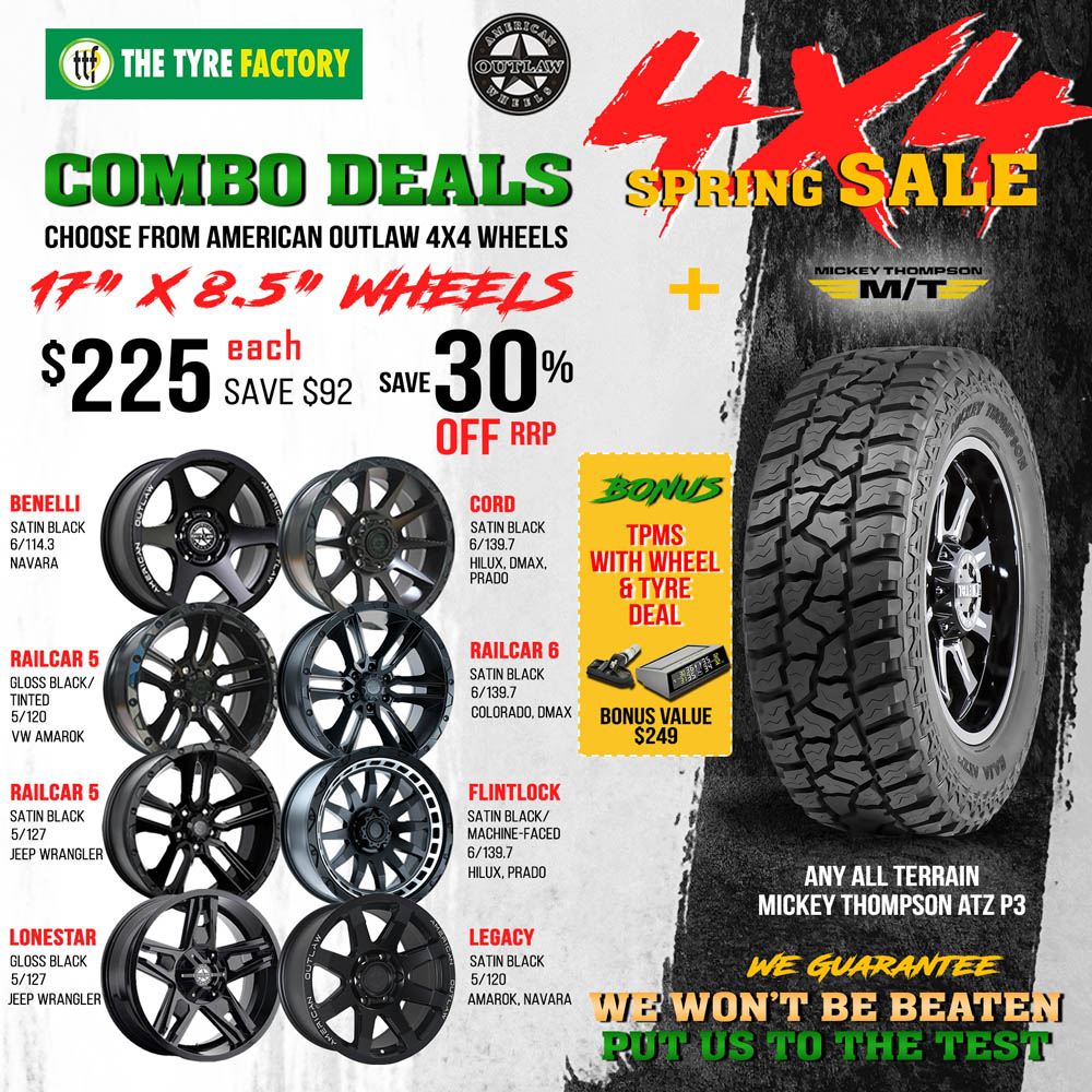 Combo deals  - Choose from American Outlaw 4x4 wheels