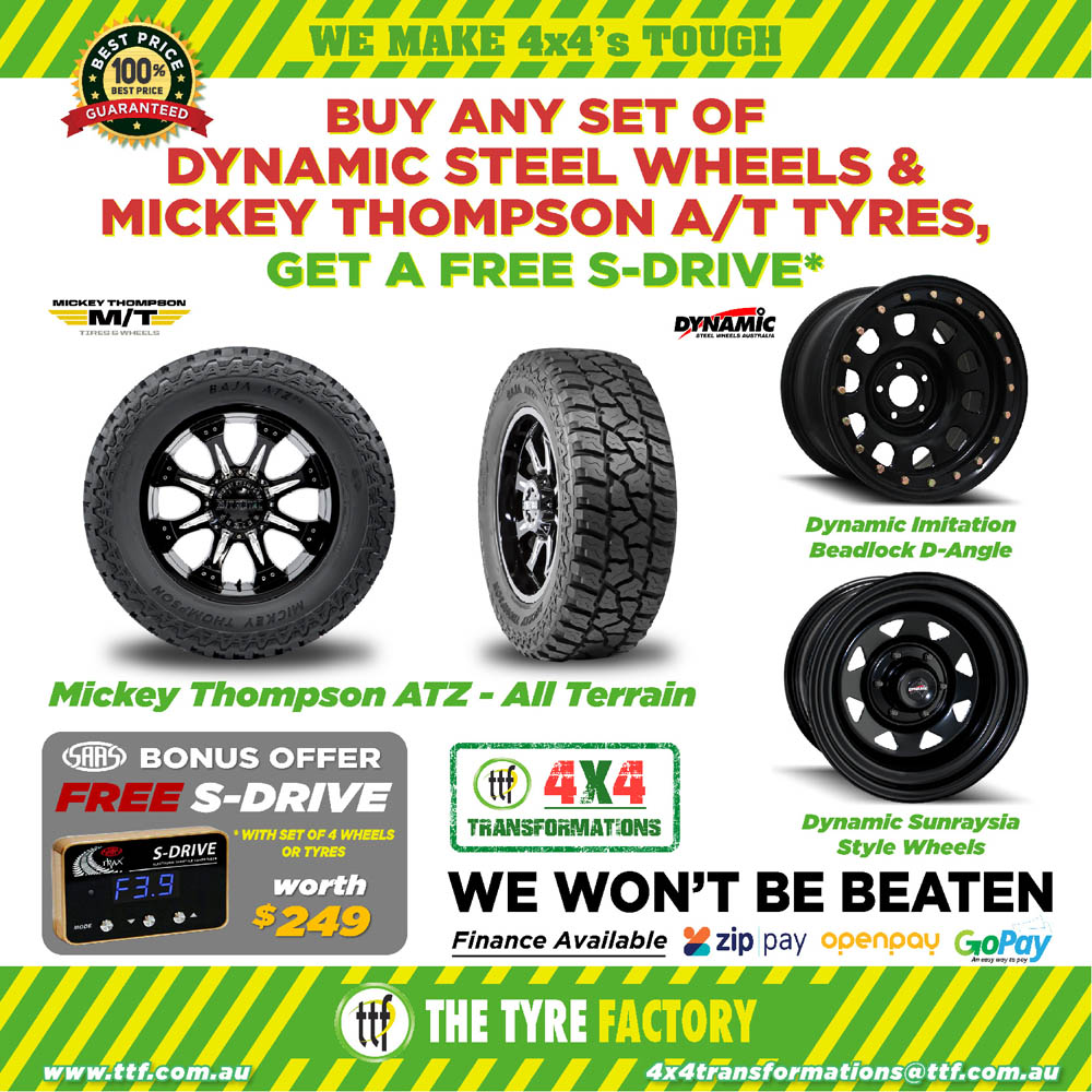 Buy any set of Dynamic Steel Wheels & Mickey Thompson A/T tyres