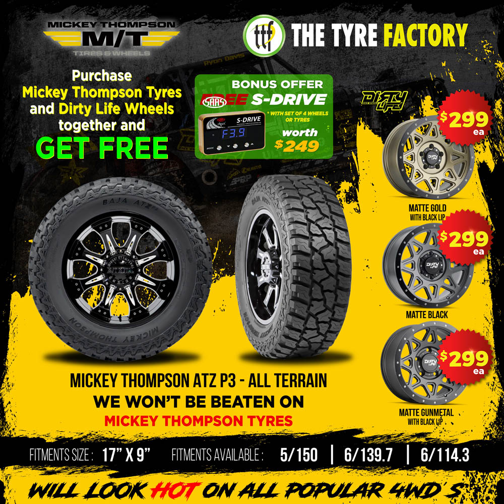 Purchase MT Tyres and Dirty Life wheels together and get free bonus offer