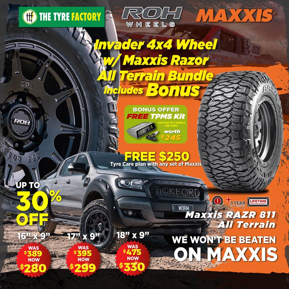 Invader 4x4 Wheel w/ Maxxis Razor All Terrain Bundle includes BONUS kit